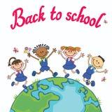 Crianças do globo Dia de terra Crianças de salto da ilustração do vetor da escola do aluno que guardam as mãos Foto de Stock Royalty Free
