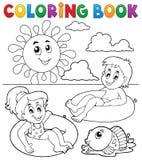 Crianças do livro para colorir nos anéis 1 da nadada ilustração do vetor