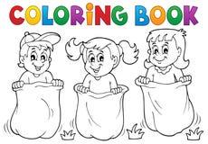 Crianças do livro para colorir que jogam o tema 1 Imagens de Stock