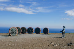 Crianças do monumento da terra, cabo norte, Noruega Imagem de Stock Royalty Free