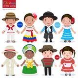 Crianças do mundo-Colômbia-Argentina-Brasil-Chile ilustração do vetor