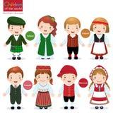 Crianças do mundo (Irlanda, Finlandia, Estônia e Dinamarca) ilustração royalty free