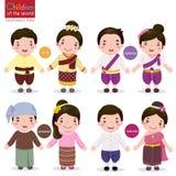 Crianças do mundo; Laos, Camboja, Myanmar e Tailândia ilustração stock