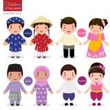 Crianças do mundo; Vietname, Filipinas, Brunei Darussalam, e Thaila ilustração royalty free