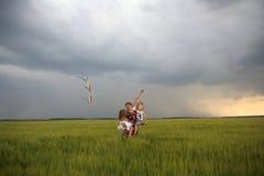 Crianças do vento do campo do papagaio do voo da alegria da família imagens de stock