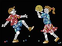 Crianças dos comprimidos da medicina Fotografia de Stock Royalty Free
