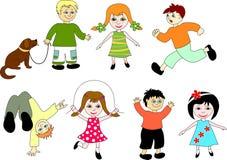 Crianças dos desenhos animados.   Imagens de Stock