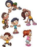 Crianças dos desenhos animados com ações diferentes ilustração royalty free