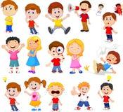 Crianças dos desenhos animados com expressão diferente ilustração royalty free