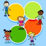 Crianças dos desenhos animados e círculos de cor Imagens de Stock Royalty Free