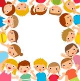 Crianças dos desenhos animados em torno do quadro ilustração do vetor