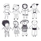 Crianças dos desenhos animados em trajes tradicionais diferentes Imagens de Stock