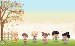 Crianças dos desenhos animados que comem a comida lixo ilustração stock