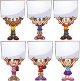 Crianças dos desenhos animados que guardam as placas brancas ilustração do vetor