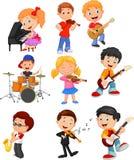 Crianças dos desenhos animados que jogam a música ilustração do vetor