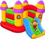 Crianças dos desenhos animados que jogam no balão do palácio Fotografia de Stock Royalty Free