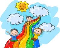 Crianças dos desenhos animados que jogam o arco-íris da corrediça ilustração do vetor