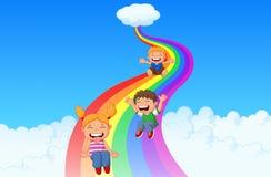 Crianças dos desenhos animados que jogam o arco-íris da corrediça ilustração stock