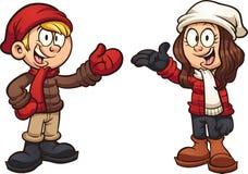 Crianças dos desenhos animados que vestem a roupa do inverno ilustração royalty free