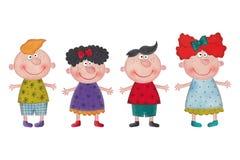 Crianças dos desenhos animados sobre o fundo branco Fotos de Stock Royalty Free