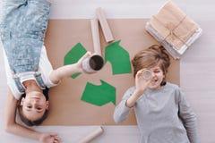Crianças durante classes da proteção ambiental fotos de stock royalty free