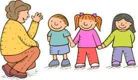 Crianças e adulto Foto de Stock