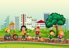 Crianças e atividade exterior ilustração royalty free