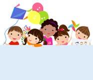 Crianças e bandeira ilustração royalty free