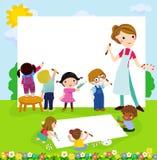 Crianças e bandeira felizes ilustração do vetor