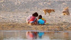 Crianças e cães da vila que jogam na areia no rio de Irrawaddy myanmar vídeos de arquivo