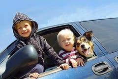 Crianças e cão que inclinam para fora a janela da carrinha Imagem de Stock
