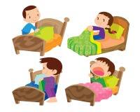 Crianças e cama ilustração royalty free