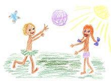 Crianças e esfera Fotografia de Stock Royalty Free