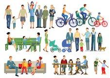 Crianças e famílias dos pais ilustração royalty free