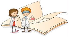 Crianças e livro ilustração royalty free