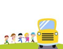 Crianças e ônibus escolar ilustração do vetor