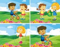 Crianças e parque Fotos de Stock Royalty Free
