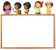 Crianças e placa Fotos de Stock