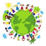 Crianças e planeta verde ilustração stock