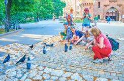 Crianças e pombas, Krakow, Polônia Fotos de Stock