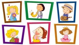 Crianças e quadros da foto Fotos de Stock Royalty Free