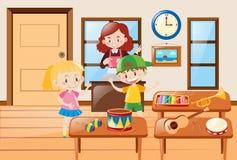Crianças e tipos diferentes do instrumento musical Fotografia de Stock Royalty Free
