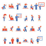 Crianças em ícones lisos da escola Fotografia de Stock