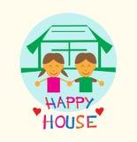 Crianças em desenhos animados lisos do estilo da casa feliz Foto de Stock Royalty Free