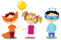 Crianças em trajes de disfarce Fotografia de Stock Royalty Free