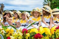 Crianças em trajes florais no festival Madeira da flor Fotos de Stock Royalty Free