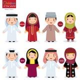 Crianças em trajes tradicionais diferentes (Barém, Omã, Catar, Jo ilustração royalty free