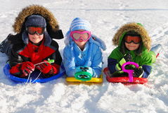 Crianças em trenós na neve Fotos de Stock