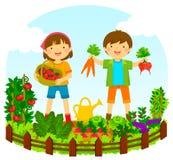 Crianças em um jardim vegetal ilustração stock