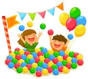 Crianças em um poço da bola ilustração royalty free